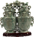 Asian:Chinese, A Large Chinese Carved Jade Double Vase on Hardwood Stand. 13 h x13 w x 1 d inches (33.0 x 33.0 x 2.5 cm). ...
