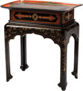 Furniture , A French Chinoiserie Black and Red Lacquered Table, 19th century. 28 h x 26 w x 17 d inches (71.1 x 66.0 x 43.2 cm). ...