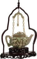 Asian:Chinese, A Chinese Carved Jade Teapot on Hardwood Base. 15 h x 9 w x 2 dinches (38.1 x 22.9 x 5.1 cm). ... (Total: 2 Items)
