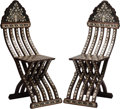 Furniture : Continental, A Pair of Moorish Folding Side Chairs. 42 h x 13 w x 13 d inches(106.7 x 33.0 x 33.0 cm). ... (Total: 2 Items)