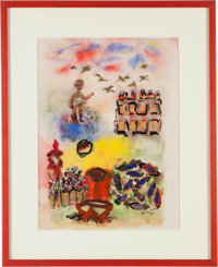 """Henry Miller. Untitled. Original Ink and Watercolor Drawing. [No place: 1951]. On white paper. Signed """"Henry Miller..."""