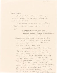Cormac McCarthy. Two Autograph Letters Signed and Autograph Postcard Signed. [No place and Ushuaia, Tierra del Fuego