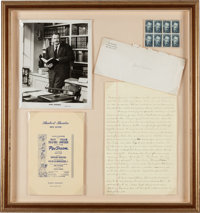 John Steinbeck. Autograph Letter. [No place: no date]. Two and one half pages on folio sheets (8 x 12.5 inches; 203 x