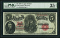 Large Size:Legal Tender Notes, Fr. 85 $5 1907 Legal Tender PMG Choice Very Fine 35 Net.. ...