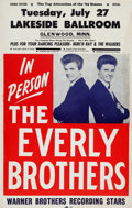Movie/TV Memorabilia:Posters, Everly Brothers Lakeside Ballroom Concert Poster (1965). ExtremelyRare....