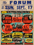 Music Memorabilia:Posters, Drifters/Dee Clark/Del Shannon Forum Concert Poster (1961).Extremely Rare....