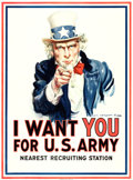 "Movie Posters:War, World War I Propaganda by James Montgomery Flagg (Leslie-Judge Co., 1917). Poster (30"" X 40.25"") ""I Want You for U.S. Army.""..."