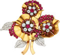 Estate Jewelry:Brooches - Pins, Retro Diamond, Ruby, Synthetic Ruby, Platinum, Gold Brooch, French. ...