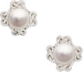 Estate Jewelry:Earrings, South Sea Cultured Pearl, Diamond, White Gold Earrings, Verdura....