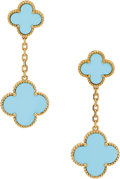 Estate Jewelry:Earrings, Turquoise, Gold Earrings, Van Cleef & Arpels, French. ...