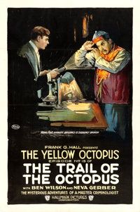 "The Trail of the Octopus (Hallmark, 1919). One Sheet (27"" X 41"") Chapter 15 -- ""The Yellow Octopus.""..."