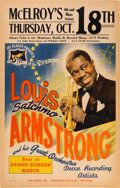 Music Memorabilia:Posters, Louis Armstrong McElroy's Concert Poster (Joe Glaser Presents,1945). Extremely Rare....