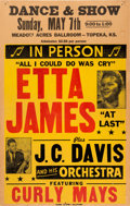 Music Memorabilia:Posters, Etta James Meadow Acres Ballroom Concert Poster (1961). ExtremelyRare....