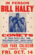 Music Memorabilia:Posters, Bill Haley And His Comets/Buddy And Bob Fair Park Coliseum ConcertPoster (1955). Extremely Rare....