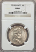 Commemorative Silver, 1918 50C Lincoln MS64 NGC. NGC Census: (1843/1447). PCGS Population: (2413/2020). MS64. Mintage 100,058. ...
