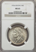 Commemorative Silver, 1936 50C Boone MS65 NGC. NGC Census: (622/311). PCGS Population:(820/474). CDN: $160 Whsle. Bid for problem-free NGC/PCGS ...
