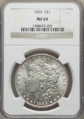 Morgan Dollars: , 1903 $1 MS64 NGC. NGC Census: (5094/3085). PCGS Population:(5604/4602). CDN: $105 Whsle. Bid for problem-free NGC/PCGS MS6...