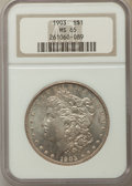 Morgan Dollars: , 1903 $1 MS65 NGC. NGC Census: (2477/611). PCGS Population:(3439/1172). CDN: $185 Whsle. Bid for problem-free NGC/PCGS MS65...