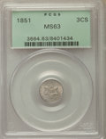 Three Cent Silver: , 1851 3CS MS63 PCGS. PCGS Population: (352/795). NGC Census: (249/686). MS63. Mintage 5,447,400. ...