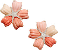 Diamond, Coral, Gold Earrings