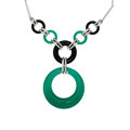 Estate Jewelry:Necklaces, Chrysoprase, Black Onyx, Diamond, White Gold Necklace. ...