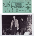 """Music Memorabilia:Tickets, John Lennon and Yoko Ono First Appearance at the Royal Albert HallUnused Ticket for """"Celebration in December"""", December 18, 1..."""