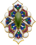 Estate Jewelry:Brooches - Pins, Multi-Stone, Diamond, Enamel, Gold Pendant-Brooch, Balogh's, DavidWebb. ...