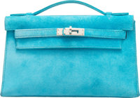 Hermes Turquoise Veau Doblis Suede Kelly Pochette Clutch Bag with Palladium Hardware I Square, 2005