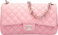 "Luxury Accessories:Bags, Chanel Pink Quilted Lambskin Leather Heart Valentine Medium FlapBag with Silver Hardware. Condition: 4. 10"" Width x6..."