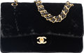 "Luxury Accessories:Bags, Chanel Black Velvet Medium Double Flap Bag with Gold Hardware.Condition: 4. 10"" Width x 6"" Height x 2.5"" Depth. ..."