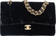 """Chanel Black Velvet Medium Double Flap Bag with Gold Hardware Condition: 4 10"""" Width x 6"""" Height x 2.5"""" D..."""