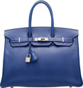 Luxury Accessories:Bags, Hermes 35cm Limited Edition Blue Electric Epsom Leather &Mykonos Candy Collection Birkin Bag with Palladium Hardware. OS...