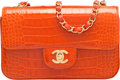 "Luxury Accessories:Bags, Chanel Orange Alligator Small Classic Flap Bag with Gold Hardware. Condition: 1. 8"" Width x 5"" Height x 2.5"" Depth. ..."