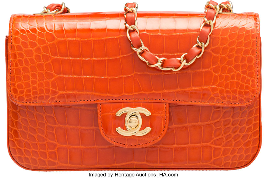963c6a6bf8c Luxury Accessories:Bags, Chanel Orange Alligator Small Classic Flap Bag  with Gold Hardware.