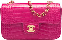 """Chanel Fuchsia Alligator Small Classic Flap Bag with Gold Hardware Condition: 1 8"""" Width x 5"""" Hei"""
