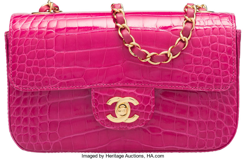 4095790193b Luxury Accessories:Bags, Chanel Fuchsia Alligator Small Classic Flap Bag  with Gold Hardware.