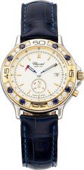 Estate Jewelry:Watches, Chopard Lady's Sapphire, Diamond, Gold, Stainless Steel Mille Miglia Watch. ...