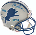 Football Collectibles:Uniforms, Barry Sanders Career Stats Signed Detroit Lions Full Sized Helmet.. ...