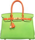 Luxury Accessories:Bags, Hermes Special Order 30cm Vert Cru & Orange H Gulliver LeatherBirkin Bag with Gold Hardware. C Square, 1999.Conditio...
