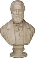 Decorative Arts, Continental:Other , Rudolf Schwanthaler (German, 1832-1879). Bust of aGentleman. Marble. 28-1/2 inches (72.4 cm) high. Inscribed onthe rev...