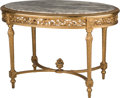 Furniture , A Louis XVI-Style Giltwood Center Table with Marble Top, 19th century. 31 h x 46-1/2 w x 31 d inches (78.7 x 118.1 x 78.7 cm...