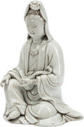 Asian:Chinese, A Chinese Blanc-de-Chine Porcelain Guanyin Figure. 9 inches high(22.9 cm). ...