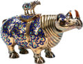 Asian:Chinese, A Chinese Semi-Precious Stone-Mounted and Enameled Rhinoceros.Marked to the lid: SILVER. 6-1/2 h x 10 w x 3-1/2 d inche...