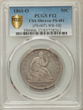 Seated Half Dollars, 1861-O 50C CSA Obverse, WB-102, FS-401, Fine 12 PCGS Secure. PCGS Population: (10/22 and 0/0+). NGC Census: (0/0 and 0/0+)....