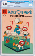 Silver Age (1956-1969):Cartoon Character, Walt Disney's Comics and Stories #223 (Dell, 1959) CGC VF/NM 9.0Off-white to white pages....
