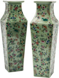 Asian:Chinese, A Pair of Chinese Enameled and Celadon Glazed Porcelain Squared Vases. 14-1/2 h x 4-1/2 w x 4-1/2 d inches (36.8 x 11.4 x 11... (Total: 2 Items)
