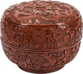 Asian:Chinese, A Chinese Cinnabar Lacquered Covered Box. 8 inches high x 10-1/2inches diameter (20.3 x 26.7 cm). ...