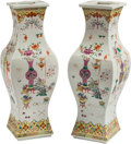 Asian:Chinese, A Pair of Chinese Enameled Porcelain Squared Vases. Marks: Qianlongmark in red paint of a later period. 17 h x 6 w x 6 d in... (Total:2 Items)