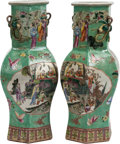 Asian:Chinese, A Pair of Chinese Export Porcelain Hexagonal Vases. 17 h x 8 w x 7d inches (43.2 x 20.3 x 17.8 cm). ... (Total: 2 Items)