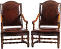 Furniture : Continental, A Pair of Renaissance Revival Leather Upholstered Walnut Armchairs.43 h x 25 w x 28 d inches (109.2 x 63.5 x 71.1 cm). ... (Total: 2Items)